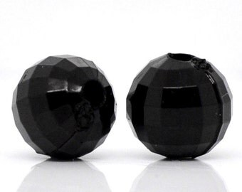 Black Acrylic Faceted Round Beads, 8mm, pack of 50 loose beads