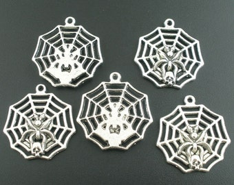 5 Pieces Antique Silver Gothic Spider Web Charms