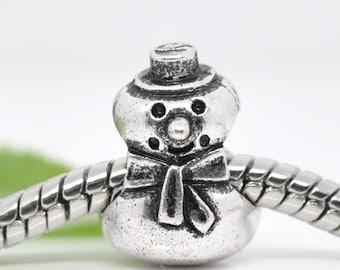 2 pieces Silver Tone Snowman European Charms