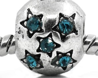 2 Pieces Antique Silver Star Carved Blue Rhinestone European Charm Beads
