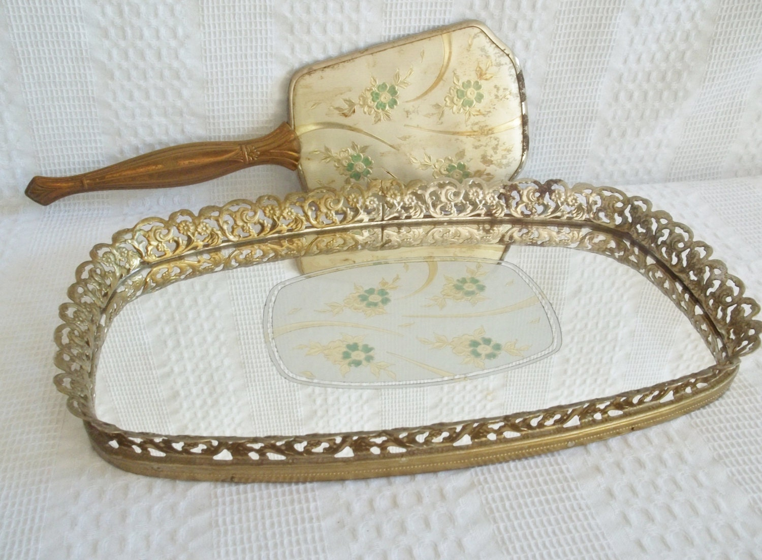 Large mirrored tray vanity mirror tray gold jade green for Mirrored bathroom tray