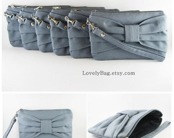 SUPER SALE - Set of 5 Gray Bow Clutches - Bridal Clutches, Bridesmaid Clutches, Bridesmaid Wristlet, Wedding Gift - Made To Order