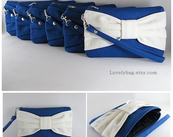 Set of 7 Bridal Clutches, Bridesmaids Clutches / ( 6 Royal Blue Bow and 1 Ivory Bow )  - Personalized Monogram Zipper Pull - MADE TO ORDER