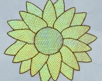 mylar Sunflower applique embroidery