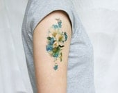 vintage floral blue and white forget-me-not temporary tattoo- large size