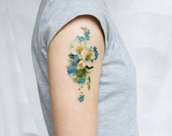 Fake Tattoo - Floral Tattoo - Flower Tattoo - Blue Flower Tattoo-Gift Wife Christmas-Boho Accessory Mom-Blue Floral Temporary Tattoo-Vintage