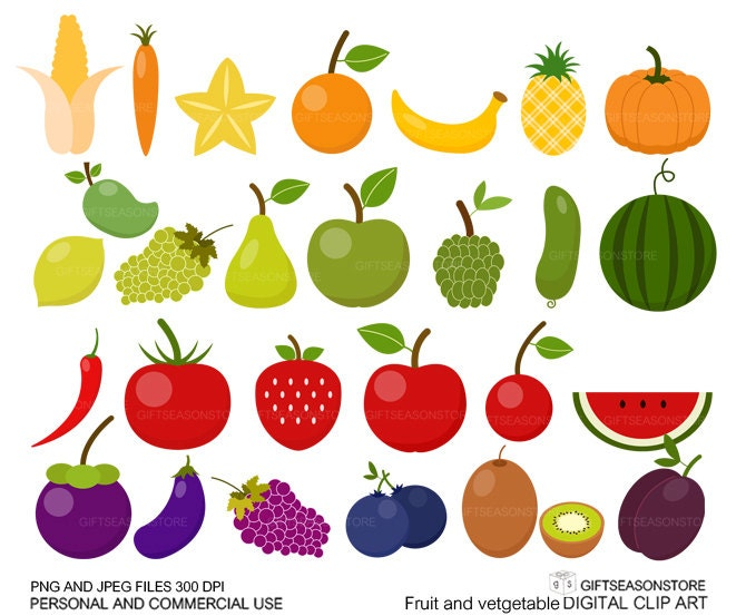 Fruit clipart | Etsy