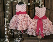 Pink polka dot flower girl dress. Toddler girls polka dot dress. Girls Valentine dress.  Whitegirls  ruffle dress. 1st birthday party dress