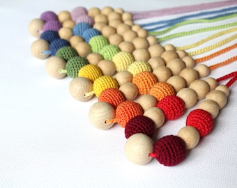 Colorful Nursing  Necklace - Rainbow  Teething Necklace - Multicolor Babywearing necklace for Mother and child - Breastfeeding Necklace