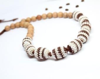 Crochet Nursing Necklace in Brown Colors-Teething necklace-Babywearing necklace for Mother and child-Breastfeeding Necklace