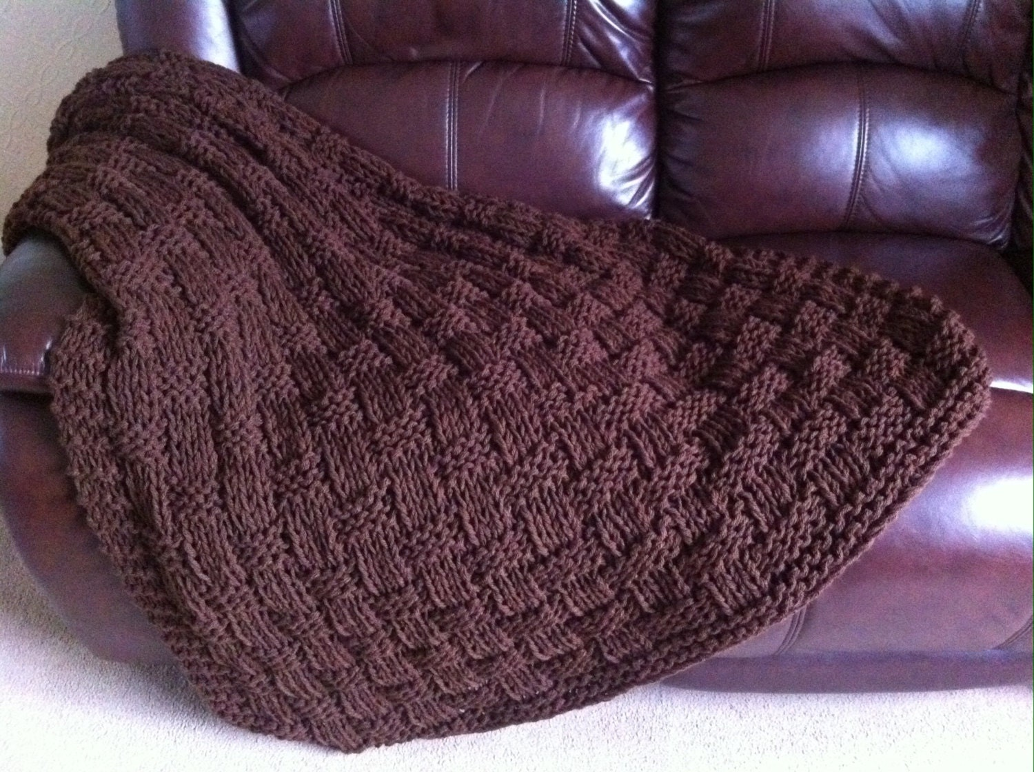 Chunky Basket Weave Hand Knit Blanket Throw Chocolate