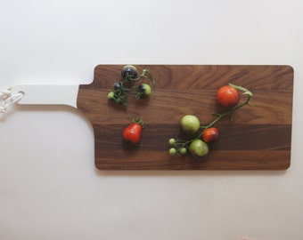 Serving Board, Walnut and White, Cutting Board, Entertaining