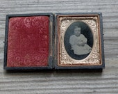 daguerreotype ambrotype baby boy in gutta percha double frame - 2manymiles