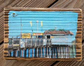Color photograph featuring The Fishing Pier in Ocean City Maryland transferred onto reclaimed boardwalk wood