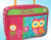 Lunchbox - Personalized and Embroidered - Fully Insulated - OWL AND FLOWERS