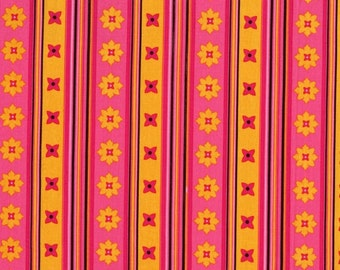 Michael Miller Fabric Flowery Stripe Andalucia by Patty Young Pink Yellow Cotton BTY Quilting Sewing Crafting