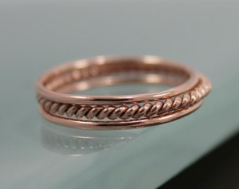 Set of 3 14k SOLID Rose Gold Stack 1 Very Skinny Rope Twist Infinity Ring  2 Thin Round Simple Stacking Band Ring  Shiny Finish