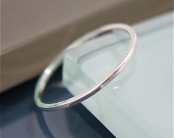 Silver Ring Square 1mm Sterling Silver Simple Stacking or Spacer Band Ring Recycled Eco-Friendly Sourced Shiny Finish