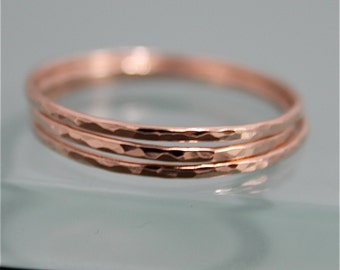 Set of 3 SOLID 14k Rose Gold Thin Hammered Stacking Band Ring Faceted Shiny Finish Eco Friendly Recycled Gold