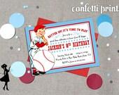 Vintage Baseball Birthday Invitation - BATTER UP Printable