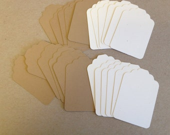"""24 scalloped merchandise style tags12 ea natural and kraft card stock 2 1/8"""" x 3 1/4"""""""