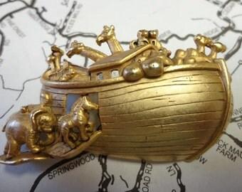 Vintage Noahs Ark Brooch Signed AJC