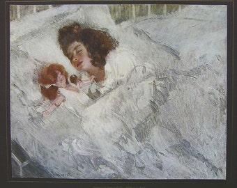 ITALIAN GIRL Sleeping Sweet Dreams by Camillo Innocenti - COLOR Antique Print