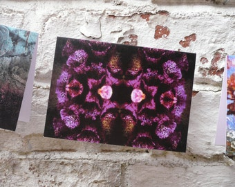 Blank greeting card with envelope Flower/ Floral Pattern Print- Foxglove Decay