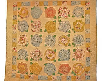 Beautifully quilted French Roses quilt - custom quilted, raw edge applique, soft colors
