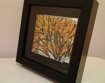Fused Glass Wall Art, Autumn Tree 3-D Glass Tile Shadowbox, Framed Home Decor - 001