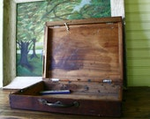 Antique Artist Paint Box Wooden Dovetail Metal Handle with Keyhole Supply Case - FernHillRd