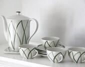 "Vintage Lyngby Porcelain ""Danild Harlekin"" Green White MCM Danish Denmark Coffee /Tea Set with Cups and Saucers"
