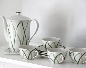 "Vintage Lyngby Porcelain ""Danild Harlekin"" Green White MCM Danish Denmark Coffee /Tea Set with Cups and Saucers"