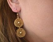 Wire crocheted Earrings. Czech pearls. Goldfilled wire knitted. Dangle earrings. Circle earrings