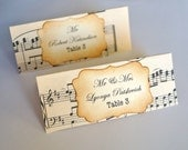 Beautiful Hand Crafted Music Themed Wedding Escort Cards Vintage or Shabby Chic Style x 10
