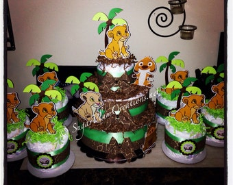Lion King Simba Diaper Cake Package-1 three tier and 6 minis- Item No 6M1TTSWSLKP, lion king theme party, simba baby shower