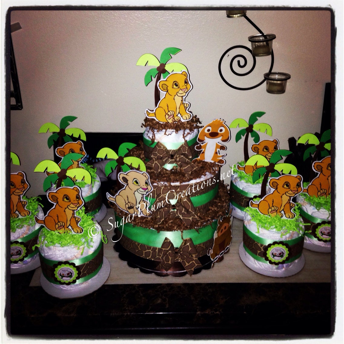 Lion Baby Shower Ideas: Lion King Simba Diaper Cake Package-1 Three Tier And 6 Minis