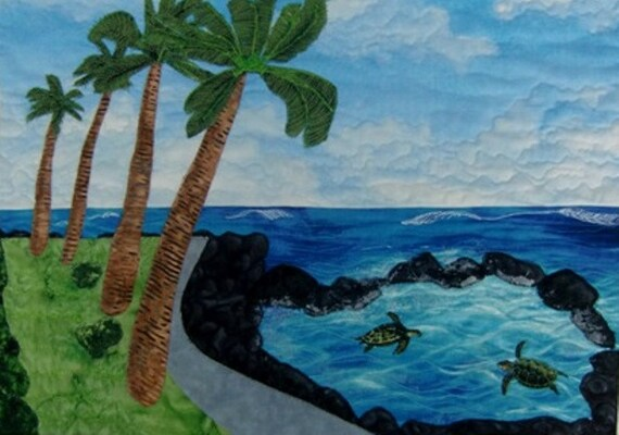 Hawaiian Tropical Beach Art Quilt Landscape Seascape Wall Hanging Sea Turtles Palm Trees OOAK