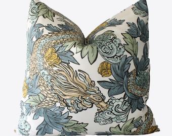 Decorative Designer Chinoiserie Dragon, Blue, Green 18x18, 20x20, 22x22 or Lumbar Throw Pillow