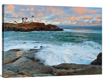 Large Canvas Wall Art Nubble Lighthouse York Maine Photography Seascape Photo Oversized Art Print Coastal Beach Decor Blue Teal Peach Orange