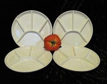 Vintage Fondue Divided Plates USA California Pottery 925