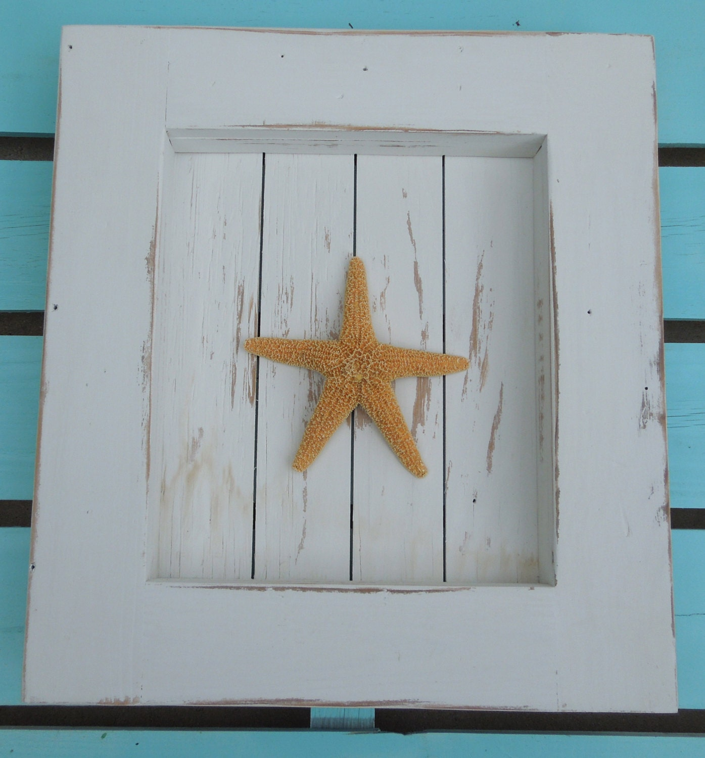 beach decor coastal picture frame with sugar starfish