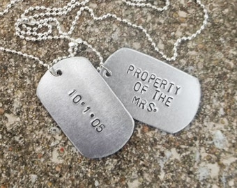 Property of Aluminum Stamped Metal Dog Tags Necklace