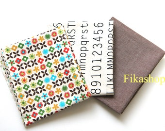 3 Fat quarters Bundles - Number & Alphabet, Yellow Green Baby Blossom and Solid in Natural Brown by Gage 100% Cotton - Fikashop