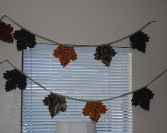 Fall Leaf Bunting - stitched, quilted, fall wedding decoration, photo prop
