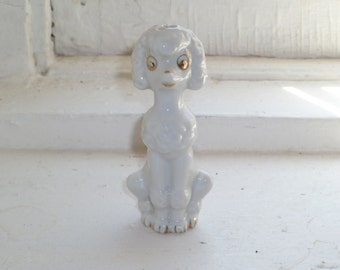 White Poodle Figurine, Cake Topper, Statue, Gold Accents