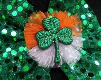 St Patrick's HeadBand....St Patty's Hair Bow...Irish Sequin Hair Bow...Irish Headband
