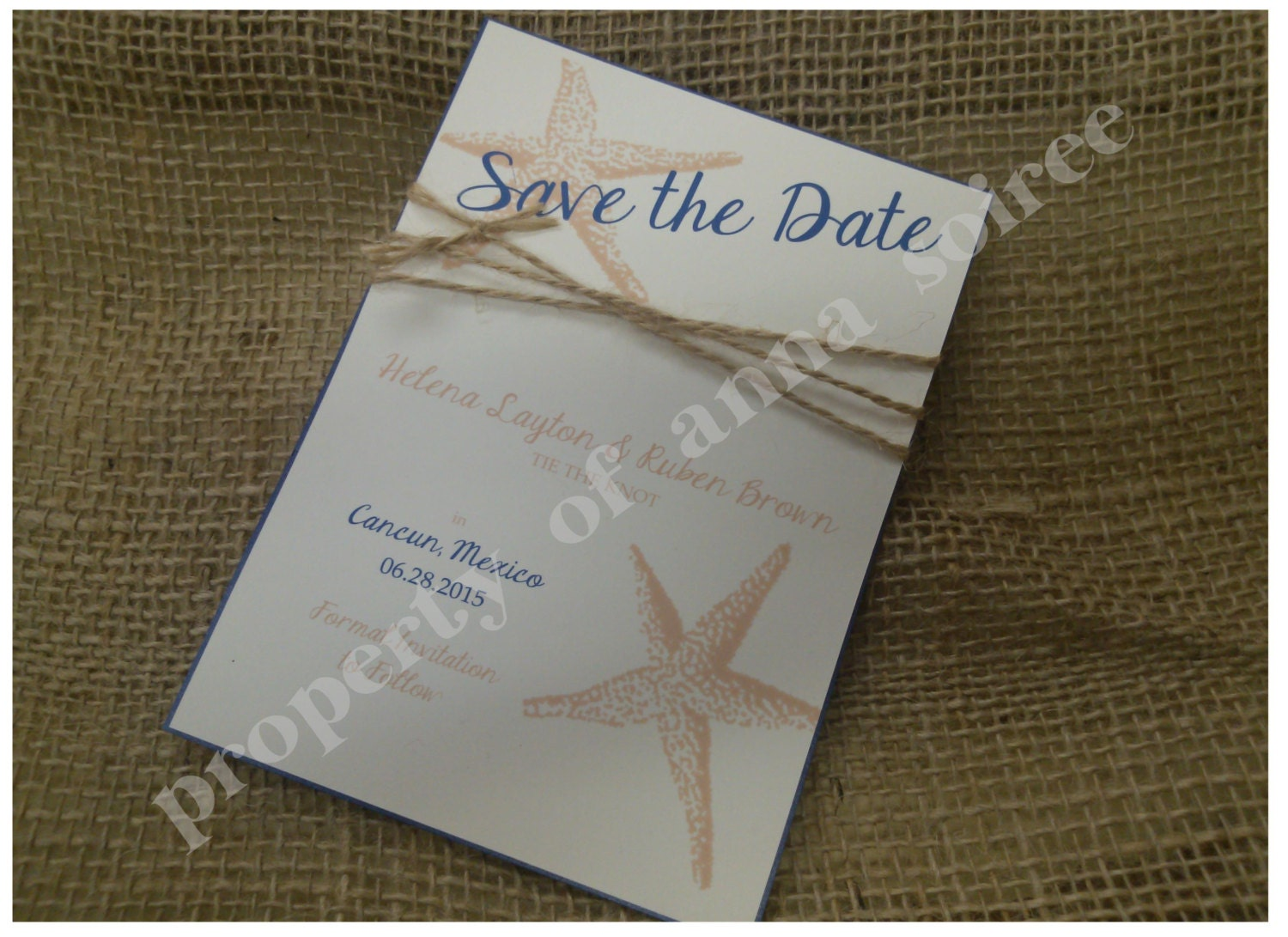 beach wedding save the date cards with twine personalized