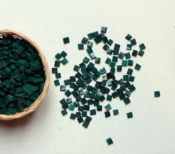 100 DARK GREEN glass tiles for mosaic / mosaic supplies / decor, art / italian glass tiles mosaic