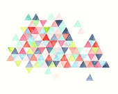 Geometric watercolor PRINT  - triangles -  nursery artwork -  turquoise - pink - navy - coral
